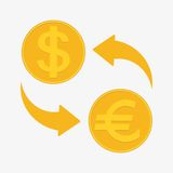 Currency exchange. Euro and Dollar. Vector illustration Stock Image