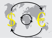 Currency exchange euro dollar on world map background Stock Photos