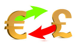 Currency exchange. euro and pound on white backgro Royalty Free Stock Photo