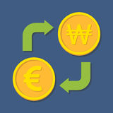 Currency exchange. Euro and Won. Stock Images