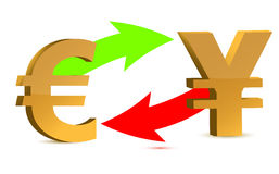 Currency exchange. euro and yen Royalty Free Stock Image