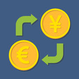 Currency exchange. Euro and Yen(Yuan). Stock Photography