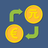 Currency exchange. Euro and Yuan. Vector illustration Royalty Free Stock Photography