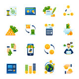 Currency exchange flat icons set. Remote foreign currency paying and exchange with internet computer banking system flat icons set abstract vector illustration Royalty Free Stock Images
