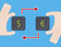 Currency exchange. flat illustration with dollar euro symbol Royalty Free Stock Photo