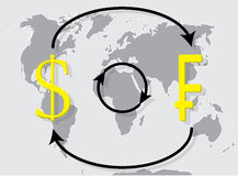 Currency exchange franc dollar on world map background Royalty Free Stock Image