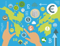 Currency exchange global concept. Virtual currency exchange market manipulation world map concept, with social media icons, infographics elements and grunge Royalty Free Stock Photography