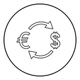 Currency exchange icon black color in circle round. Outline Stock Images