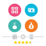 Currency exchange icon. Cash money bag, wallet. Stock Image