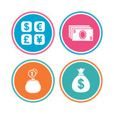 Currency exchange icon. Cash money bag, wallet. Currency exchange icon. Cash money bag and wallet with coins signs. Dollar, euro, pound, yen symbols. Colored Stock Images