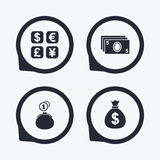 Currency exchange icon. Cash money bag, wallet. Stock Photos