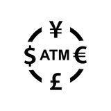 Currency exchange icon. Dollar yen euro pound atm signs.  Royalty Free Stock Photos