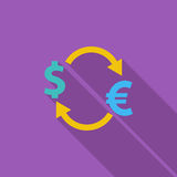 Currency exchange. Currency exchange icon. Flat vector related icon with long shadow for web and mobile applications. It can be used as - logo, pictogram, icon Royalty Free Stock Photography