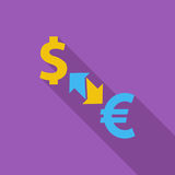 Currency exchange. Currency exchange icon. Flat vector related icon with long shadow for web and mobile applications. It can be used as - logo, pictogram, icon Stock Images