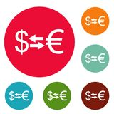 Currency exchange icons circle set vector. Isolated on white background Stock Image