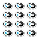 Currency exchange icons set - dollar, euro, yen, pound. Finance, banking, currency  black anad blue labels set isolated on white Royalty Free Stock Photos