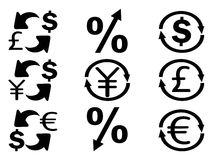 Currency Exchange icons set. Isolated Currency Exchange icons set from white background Stock Images