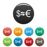 Currency exchange icons set vector. Currency exchange icons set. Vector simple set of currency exchange vector icons in different colors isolated on white Stock Image