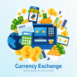 Currency Exchange Illustration. Currency exchange concept with financial market symbols set vector illustration Royalty Free Stock Images
