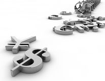 Currency exchange illustration with money symbols. Royalty Free Stock Images