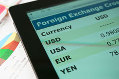 Currency exchange information on screen tablet pc royalty free stock photo
