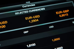 Currency exchange information on screen tablet pc Stock Photos