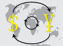 Currency exchange japanese yen dollar on world map background. Money exchange and foreign exchange, vector illustration Stock Images
