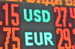 Currency exchange light board. Blur background Royalty Free Stock Image
