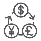 Currency exchange line icon, financial and bank, money sign, vector graphics, a linear pattern on a white background. Currency exchange line icon, financial and royalty free illustration