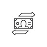 Currency exchange line icon, outline vector sign, linear pictogram isolated on white. Royalty Free Stock Images