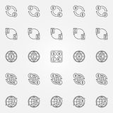 Currency exchange line icons. Currency exchange icons. Vector dollar, euro, ruble, pound and yen currency concept symbols in thin line style Stock Photography