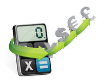 Currency exchange and modern calculator Royalty Free Stock Photos