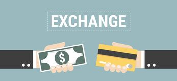 Currency exchange, money exchange, vector illustion flat design style. Currency exchange, money exchange on blue background, vector illustion flat design style Stock Images