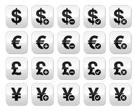 Currency exchange buttons set - dollar, euro, yen, pound Stock Images
