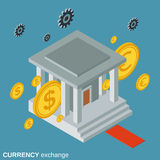 Currency exchange, money transfer, financial transaction vector concept. Currency exchange, money transfer, financial transaction flat isometric vector concept Royalty Free Stock Photos