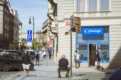 Currency exchange office in the old town of Prague. PRAGUE, CZECH REPUBLIC - AUGUST 27, 2015: Currency exchange office in the old town of Prague, Czech Republic Royalty Free Stock Photography
