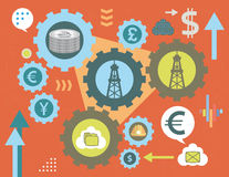Currency exchange and oil energy gears royalty free illustration