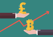 Currency exchange Pound sterling and Bitcoin Stock Photos