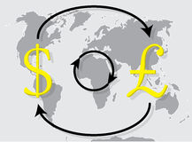 Currency exchange pound sterling dollar on world map background. Exchange icon trade, money exchange rate. Vector illustration Stock Image