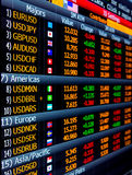 Currency exchange prices and market data on screen
