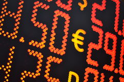 Currency exchange rate. On digital LED display board Stock Images