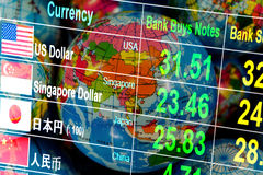 Currency exchange rate on digital LED display board in global background. stock image