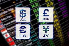 Currency exchange rate icons signs on digital display board. Currency exchange rate icons signs on blurred background of digital display board stock illustration