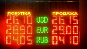 Currency exchange rate on led display under glass, stock numbers diversity,. Currency exchange rate on led display under glass, stock numbers diversity. Exchange stock video
