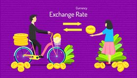 The currency exchange rate. transfer money different type of coin. male give many medal to female one medal. number background. stock photography