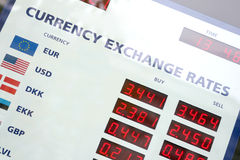 Currency exchange rates board. A fragment of the currency exchange rates board, window display Stock Photo