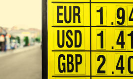 Currency exchange rates board at street Stock Image