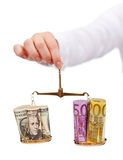 Currency exchange rates and currency wars concept Stock Image