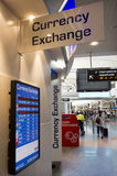 Currency exchange service - Bureau de change. AUCKLNAD - DEC 31: Currency exchange service  in Auckland airport on Dec 31 2013. In countries where currency Royalty Free Stock Images
