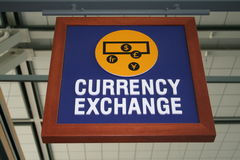 Currency exchange sign. A picture of a currency exchange sign in the airiport Royalty Free Stock Photography